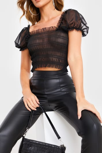 BLACK MESH SHIRRED PUFF SLEEVE CROP TOP