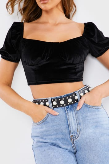 BLACK VELVET CUPPED PUFF SLEEVE CROP TOP