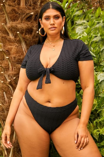 curve black textured super high waisted bikini bottoms