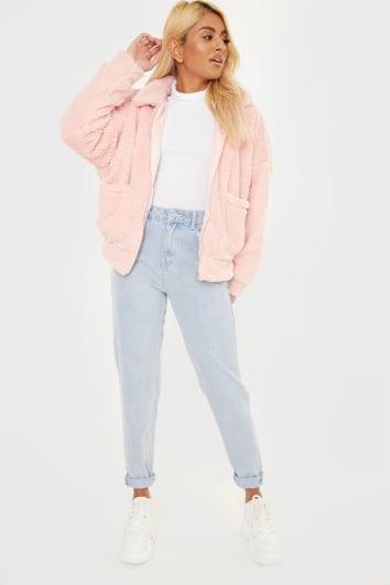 pink teddy fur bomber jacket