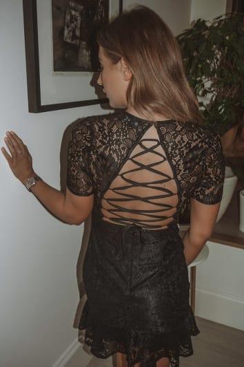 DANI DYER BLACK LACE UP BACK LACE DRESS