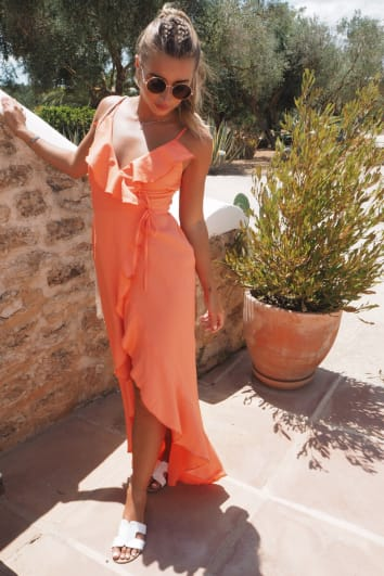DANI DYER ORANGE WRAP MAXI DRESS