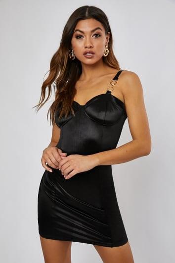 black satin bustier buckle mini dress