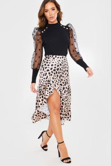 stone leopard print wrap front midi skirt