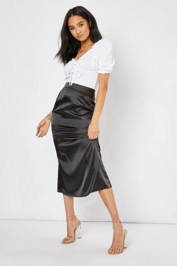 black satin slip skirt