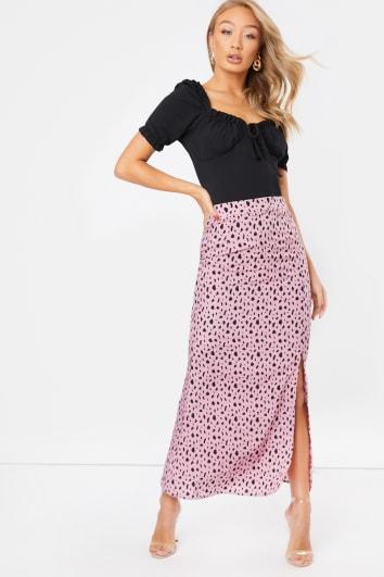 pink leopard print split detail slip skirt