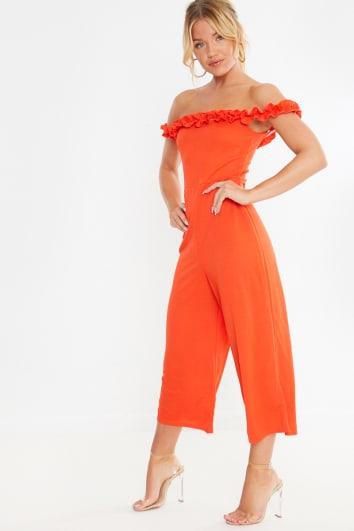 orange frill bardot culotte jumpsuit