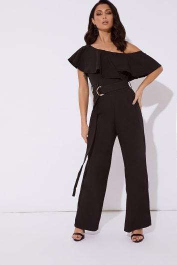 black frill one shoulder belted wide leg jumpsuit