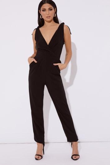 black plunge tapered jumpsuit