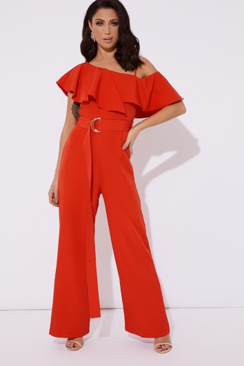 red frill one shoulder belted wide leg jumpsuit