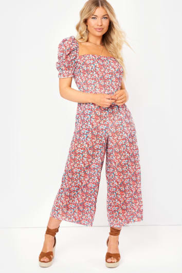 red floral sheer culotte jumpsuit