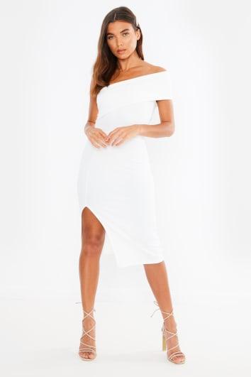 white one shoulder bardot midi dress