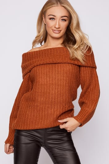 rust bardot balloon sleeve jumper