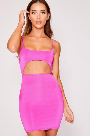 neon pink slinky cut out dress