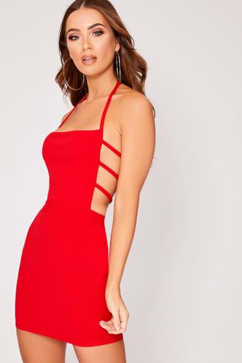 red strap back mini dress