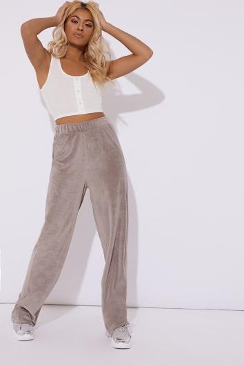grey teddy velour wide leg trouser