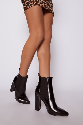 black faux leather heeled ankle boots