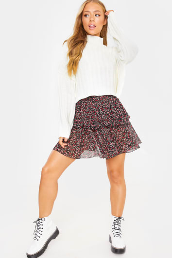 CHARLOTTE CROSBY CREAM CROPPED HIGH NECK KNITTED JUMPER