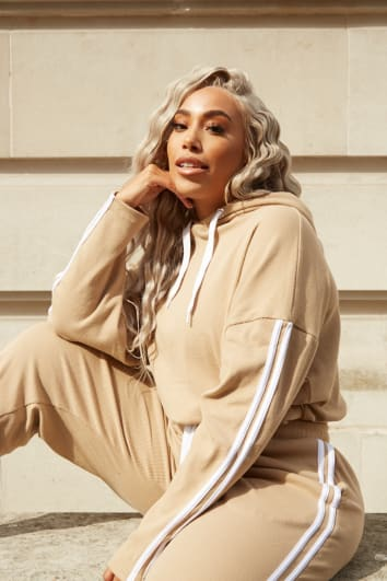 CURVE LAILA LOVES CAMEL CROPPED STRIPE SIDE CO-ORD HOODIE