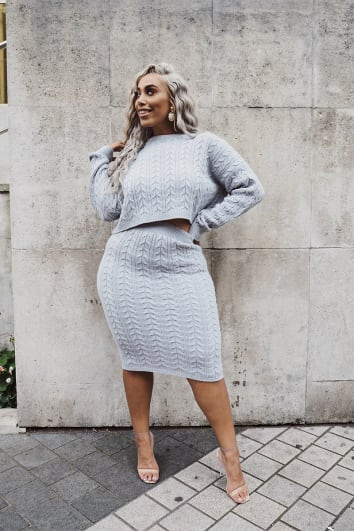 CURVE LAILA LOVES GREY MARL CABLE KNIT MIDI SKIRT