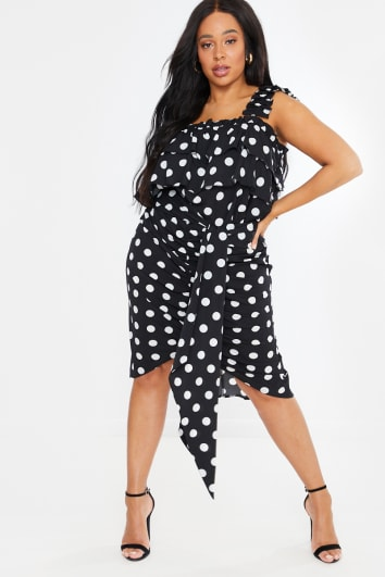 CURVE LORNA LUXE BLACK 'TORN BETWEEN TWO LOVERS' POLKA DOT MIDI SKIRT