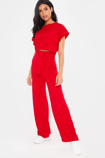 RED TEXTURED CROP TOP AND TIE WAIST TROUSER LOUNGEWEAR SET