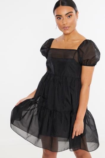 BLACK GEORGETTE PUFF SLEEVE SKATER MINI DRESS