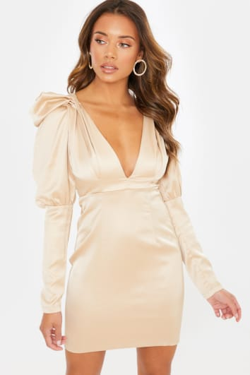 LIGHT GOLD SATIN PUFF SLEEVE PLUNGE MINI DRESS