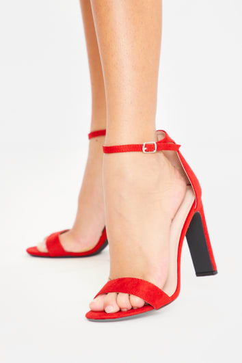 RED BARELY THERE CHUNKY HEEL FAUX SUEDE HEELS