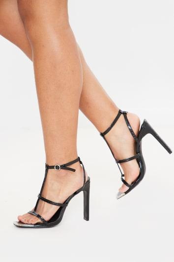 black snake triple strap patent heels