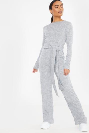 grey tie waist long sleeve knit jumpsuit