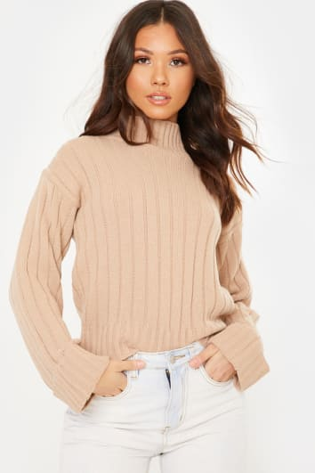 CAMEL HIGH NECK RIBBED JUMPER