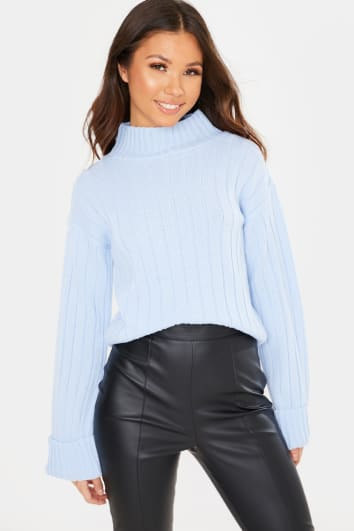 LIGHT BLUE HIGH NECK RIBBED JUMPER