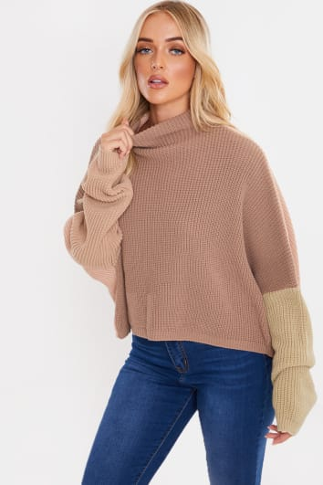 BROWN COLOUR BLOCK GROWN ON NECK BATWING JUMPER