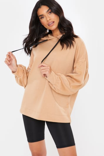 CAMEL OVERSIZED PUFF SLEEVE HOODIE