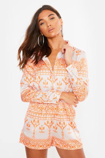 orange aztec satin shirt playsuit