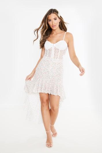 nude floral print extreme drip hem skirt