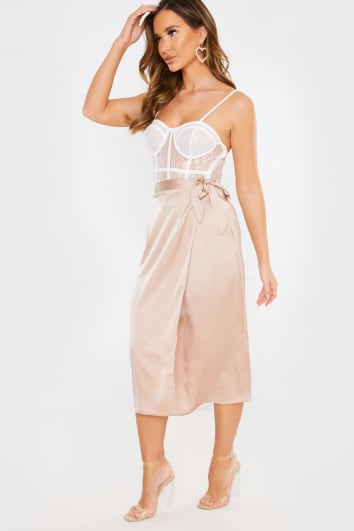 NUDE SATIN WRAP MIDI SKIRT