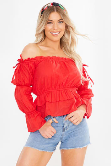 red bardot shirred puff sleeve top