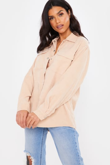 BEIGE CORD OVERSIZED DIP HEM BUTTON DOWN SHIRT