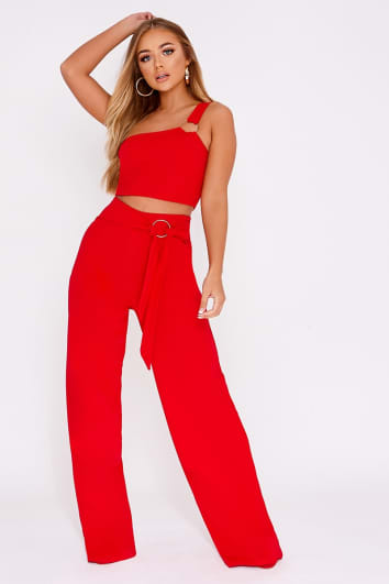 BILLIE FAIERS RED RING DETAIL PALAZZO TROUSERS