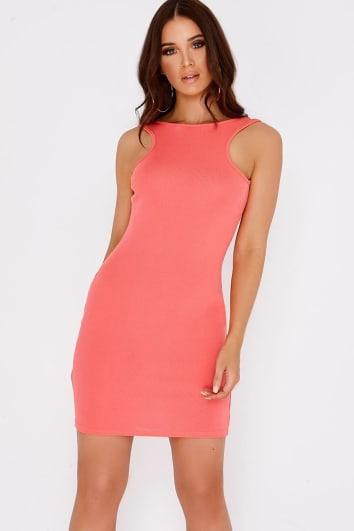 coral basic bodycon mini dress