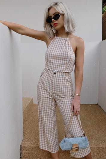 LAURA JADE NUDE GINGHAM CHECK CROPPED TROUSERS