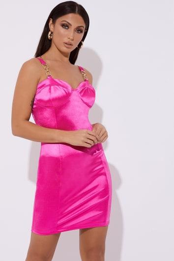 pink satin bustier buckle mini dress