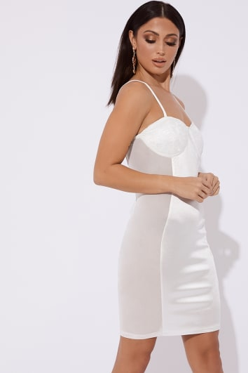 white bustier mesh panel satin mini dress