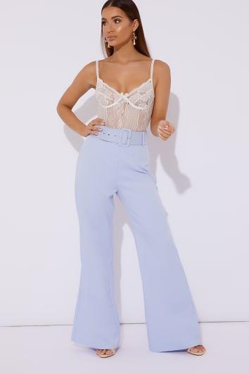 blue belt detail trousers