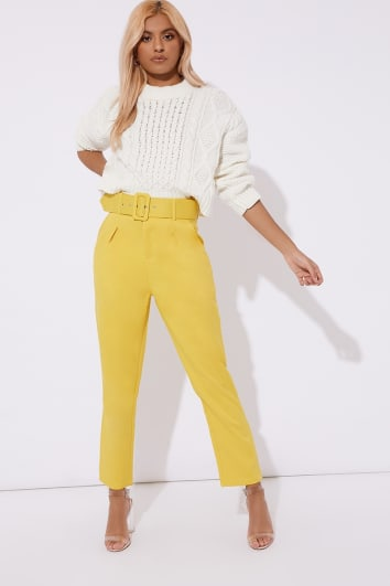 yellow slim fit belted cropped trousers