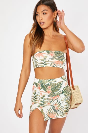 white tropical print split front co-ord mini skirt
