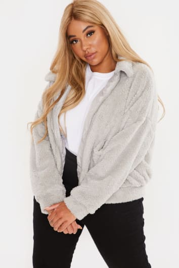 CURVE KAELIA GREY TEDDY FUR BOMBER JACKET
