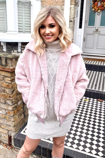 MAUVE FAUX FUR CROPPED JACKET